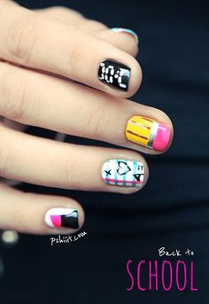 Playful nail art for back to school!