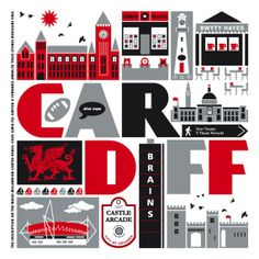 Cardiff Typographic Print with FREE UK delivery. Stylish retro print depicting some of the most famous landmarks of this Welsh city. Cardiff Wales, Cardiff City, Wales Uk, South Wales, Millennium Stadium, Cymru, Unusual Gifts, Travel Posters, Great Britain