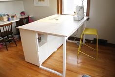 noodlehead: an update: my sewing space.  Hooray! Another counter height sewing table!