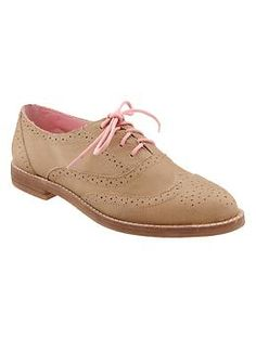 Perforated oxfords- ordered in camel and gray| Gap $69.95  ~ ran large and no longer had in my size  Camel ones:   Tried the size 9 and they might have worked except that there was a little plastic piece poking out of inside heel that made them unwearable. So both sizes went back.  Ack! I give up with these. :(   Last pair of gray. we'll see :/
