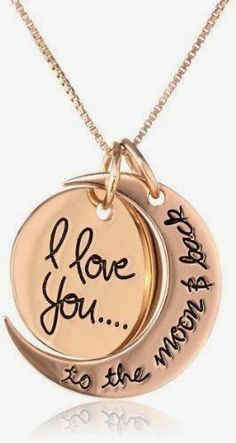 """Fashion And Style: Sterling Silver """"I Love You To The Moon and Back"""" Two Piece Pendant Necklace"""