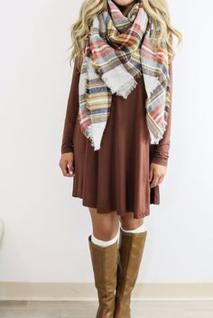 Royal Tower Cocoa Brown Long Sleeve Basic Dress ~ Love the scarf Mode Outfits, Casual Outfits, Fashion Outfits, Womens Fashion, Denim Outfits, Dress Fashion, Fall Winter Outfits, Autumn Winter Fashion, Spring Outfits