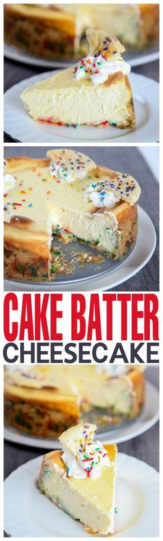 Creamy cake batter cheesecake nestled inside a sugar cookie crust. A birthday cake addict's dream come true!