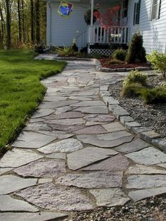 Front Yard and Garden Walkway Landscaping Inspirations 4 Rock Walkway, Front Yard Walkway, Outdoor Walkway, Front Yard Landscaping, Landscaping Ideas, Walkway Ideas, Patio Ideas, Front Yards, Rock Path