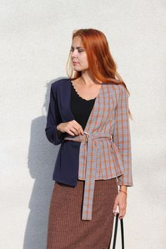 437469e17a8 SHEIN Multicolor Elegant Office Lady Two Tone Belted Plaid Regular Fit  Fashion Coat Workwear Women