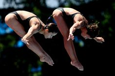 Elena Mara Aiacoboae and Corina Popovici of Romania compete in the Women's 10m Synchro Platform at the Stadio del Nuoto on July 19, 2009 in Rome, Italy.