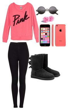 """""""Friday night football"""" by paige-ingram ❤ liked on Polyvore featuring Victoria's Secret PINK, Topshop and UGG Australia"""