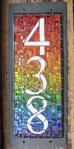 Vertical House Number with Rainbow Background by Nutmeg Designs Rainbow Background, Car Painting, House Numbers, Color Theory, Light Colors, Crafts, Design, Manualidades, Bright Colours