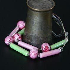 Ceramiczny rabarbar - Koralikowa_pracownia - Naszyjniki