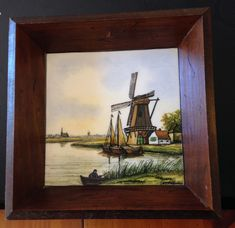 4 Vintage Framed Dutch Tiles of Windmills, Pastoral scenes and Boats  signed on back Het Tegelhuis Alphen a/d Rijn Made in Holland by thrulisaseyes on Etsy
