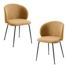 Si buscas sillas de comedor cómodas y sólidas, aquí tienes el modelo LIZA. Su respaldo curvo de adapta a la espalda, permite apoyar los brazos y se puede acercar mucho a la mesa ocupando poco espacio. Además, sus patas metálicas negras hacen que visualmente sea una silla ligera. Se vende en pack de 2 unidades, si necesitas otra cantidad, contacta con nosotros. #silla #sillas #sillatapizada #sillaamarilla Dining Chairs, Drinks, Furniture, Home Decor, Food, Model, Black Metal, Upholstered Chairs, Modern Design