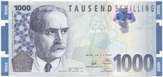 Austria banknotes 1000 Austrian Schilling banknote of 1997 Karl Landsteiner East Germany, Old Paper, Vienna, The Past, History, Retro, Travelling, Finance, Gold