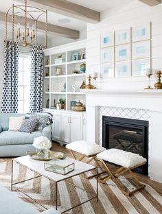 Fireplace, Built-Ins, Shiplap, Drapes, Styling