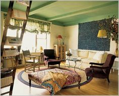 ottoman / painted ceilings can draw attention to the beams