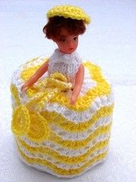 Crochet toilet roll holder-my aunt still uses them
