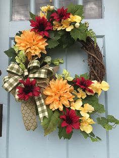 Farmhouse Red, Yellow and green floral Farmhouse Grapevine Wreath for Door. Wreaths, wreaths for front door, farmhouse, christmas by DesignsbyDebbyOhio on Etsy Wreath Crafts, Diy Wreath, Grapevine Wreath, Wreath Ideas, Primitive Wreath, Outdoor Wreaths, Holiday Wreaths, Wreaths For Front Door, Grape Vines