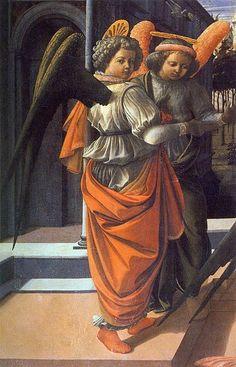 FILIPPO LIPPI (Fra) - Annunciazione Martelli, dettaglio - 1440 circa - tempera su tavola - chiesa di San Lorenzo, Cappella Martelli, Firenze.