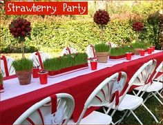Strawberry Party- love all the grass decoration! Combine with using strawberries.