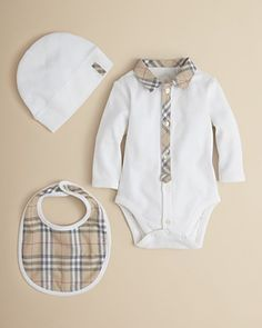 Burberry Infant Boys' Bodysuit, Hat & Bib Set – Sizes 1-18 Months PRICE: $150.00
