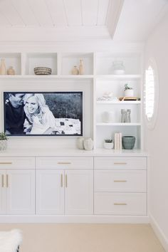 Master Bedroom Reveal: Hubby Went for a Pink Bed! 2019 Master Bedroom Reveal: Hubby Went for a Pink Bed! The post Master Bedroom Reveal: Hubby Went for a Pink Bed! 2019 appeared first on Bedroom ideas. Built In Tv Cabinet, Built In Tv Wall Unit, Built In Shelves Living Room, Bedroom Built Ins, Built In Dresser, Tv In Bedroom, Living Room Storage, Living Room Tv, Bedroom Decor