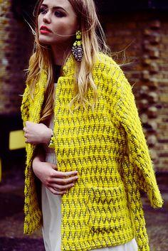 mellow yellow #winter #chic || via Kayture