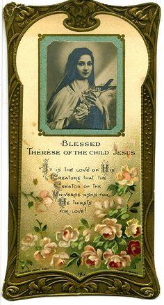 Ste Therese of the Child Jesus holy card Catholic Prayers, Catholic Art, Catholic Saints, Roman Catholic, Religious Pictures, Religious Icons, Religious Art, Sainte Therese De Lisieux, Ste Therese