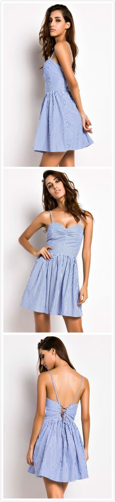 Striped Spaghetti Straps Backless Cami Dress featuring two spaghetti straps. It has a sweetheart neckline and backless design. Back novelty lace-up detailing.