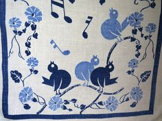 Vtg Blue Birds Linen Tea Dish Kitchen Towel Musical Notes Petunias Art Deco Gift