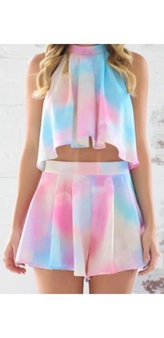 Sugar Rush White Light Pink Blue Tie Dye Sleeveless Halter Tie Neck Loose Pleated Crop Top Short Two Piece Romper - Sold Out Girls Fashion Clothes, Teen Fashion Outfits, Girl Fashion, Girl Outfits, Steampunk Fashion, Gothic Fashion, Cute Casual Outfits, Stylish Outfits, Summer Outfits