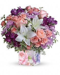 Grand in a most gorgeous way! This fresh, fabulous bouquet of roses, lilies and alstroemeria is as lovely as a walk through a grand English garden. Hand-delivered in a beautiful, vintage-inspired botanical vase, it's a breathtaking gift for any occasion! Spring Flower Arrangements, Beautiful Flower Arrangements, Flower Centerpieces, Flower Decorations, Floral Arrangements, Lilac Flowers, Pretty Flowers, Spring Flowers, Flowers Garden