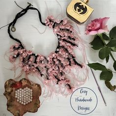 pink and black low cut bib style necklace with beads Floral Necklace, Crochet Necklace, Hand Stitching, Chokers, Delicate, Beads, Knitting, Pink, Handmade