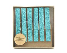 Turquoise glitter clothespins. Blue Glitter drenched Clothespins. Clothespin Magnets. Photo Holder. Blue weddings Party favor Glittered pegs