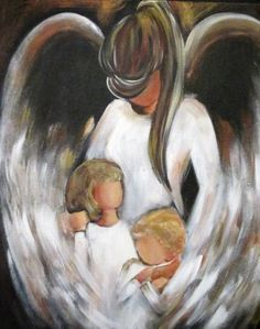 A guardian angel is an angel that is assigned to protect and guide a particular person, group, kingdom, or country. Belief in guardian angels can be traced thro I Believe In Angels, Angel Pictures, Guardian Angels, Angel Art, Painting Inspiration, Painting & Drawing, Painting Abstract, Illustration, Art Projects