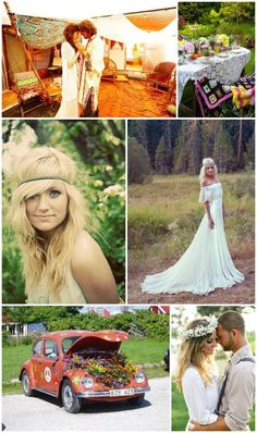 1960s - 1970s inspiration for a bohemian / hippie wedding day