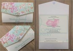 Floral top pocket fold invitation with diamanté and pearl embellishment  www.jenshandcraftedstationery.co.uk  www.facebook.com/jenshandcraftedstationery Hand Made Wedding stationery: Save the date, Wedding invitations, Table Plans, Place Settings, Guest Books, Post Boxes, Menus, Table Numbers/Names
