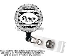 Retractable Bling Badge Holder, Personalized Black Stripes and Silver Glitter, Choice of Bling Badge Reel, Lanyard or Carabiner by CreativeSanity on Etsy