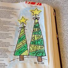 "SnapWidget   Advent day 5 ""the Joyful Christmas tree"" Psalm 96:12 #illustratedfaith #illustratedadvent #biblejournaling #biblejournalingcommunity"