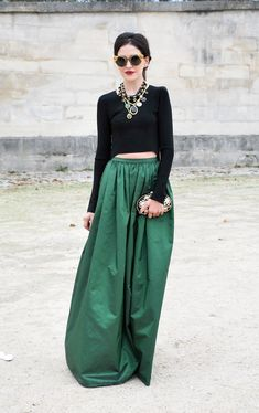 emerald green skirt, black top, jewels and shades Twirling Clare: emerald isle