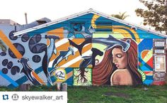 """My brother just finished this sweet #masterpiece in Cardiff!  #Art #sharks #mizulife #mural #muralist #california @reef_girls - #Repost @skyewalker_art with @repostapp.  """"Actuality"""" 25ft x 13ft - painted with @montanacans_usa 