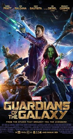 Guardians of the Galaxy, 2014 - Directed by James Gunn.  With Chris Pratt, Vin Diesel, Bradley Cooper, Zoe Saldana. A group of intergalactic criminals are forced to work together to stop a fanatical warrior from taking control of the universe.