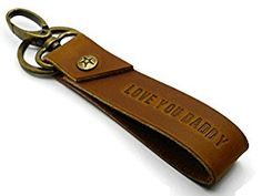 Amazon.com: BrownBeans, 'Love You Daddy' Men's Leather Keychain Fob Keyring Holder with Clip (BBKC5004): Automotive Leather Keychain, Men's Leather, Daddy, Love You, Personalized Items, Amazon, Stuff To Buy, Te Amo, Amazons