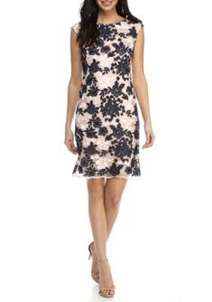 Donna Ricco New York NavyPink Embroidered Mesh Sheath Dress