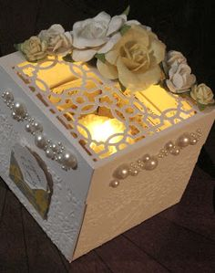 """Wedding Explosion Box with Tea Light Cake - Martha Stewart punch all over the page """"Canning Pattern"""" punch for lid; Cuttlebug Cherry Blossoms embossing folder (Note: you can find tea lights hrs of burn time at Michaels, but you have to look) Card In A Box, Diy Card Box, Diy Box, Card Box Wedding, Wedding Card Design, Exploding Gift Box, Explosion Box Tutorial, Magic Box, Marianne Design"""