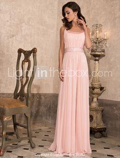 Sheath/Column Scoop Floor-length Chiffon Evening Dress With Beading - USD $ 197.99