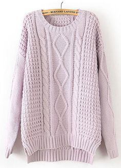 Posh Cable Knit Pullovers Sweater for Woman Light Purple | martofchina.com