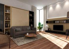 ClickBed V Sofa to łóżko chowane w szafie z elegancką i wygodną sofą. Podczas rozkładania łóżka sofa składa się automatycznie. Bed Wall, Murphy Bed, Armoire, Furniture, Home Decor, Clothes Stand, Foldable Bed, Decoration Home, Closet