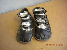 Vintage Pair of Girls' Black Open Button-Up Shoes