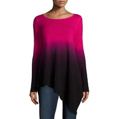 Neiman Marcus Cashmere Collection Ombre Cashmere Asymmetric Sweater ($310) ❤ liked on Polyvore featuring tops, sweaters, asymmetrical hem sweater, cashmere tops, purple top, neiman marcus tops and loose sweater