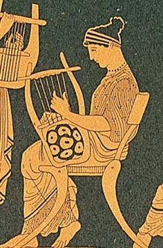 LIRA GRIEGA  La lira (del latín «lyra», y este del griego «λύρα») es un instrumento de cuerda punteada primitiva, con forma de ábaco, cuyo origen los griegos atribuyeron a Hermes o a la musa Polimnia. Fue el instrumento musical que tañó Orfeo y el que acompaña a Apolo como símbolo del Estado ciudadano, de la cultura y de la música.  La lira es un instrumento musical que, como el arpa, se tocaba con las dos manos.  - Pinterest
