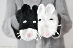 Cat gloves for kids cats yin yang black white warm by warmsy, $34.00